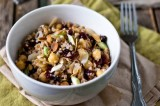 chickpea & bulgur wheat salad with cranberries, almonds & a tangy vinaigrette