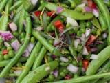 green bean salad with a mustard seeddressing